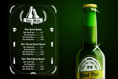 Menu template - beer and alcohol with place for. Menu template for beer and alcohol with place for logo of your pub, restaurant, cafe etc. With realistic green Royalty Free Stock Photo