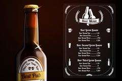Menu template for beer and alcohol. vector Stock Photography