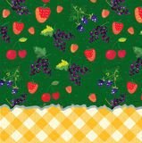 Menu template with berries and plaid pattern Stock Photo