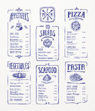 Menu Template. Blue pen drawings vector illustration