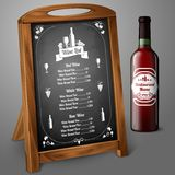 Menu template on chalkboard - for alcohol with Stock Images