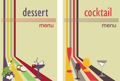 Dessert and cocktail menu. Menu template for a cocktail and dessert featuring glasses and fruits Stock Photo