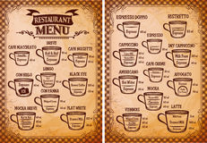 Menu template for an coffee drinks for restaurants Stock Photos