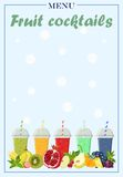 Menu template for fruit cocktails. Vector illustration. Vector image of a cover of a list of cocktails with bright fruits and drinks in glasses. Design menu of Stock Image