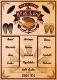 Menu template with mussels Royalty Free Stock Photos