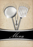 Menu Template - Old Paper and Metal Stock Photography