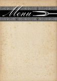 Menu Template - Old Paper and Silver Stock Photo