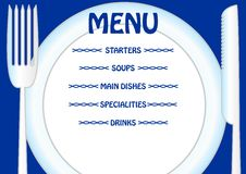 Menu template with plate, knife and fork. Write your own menu items directly to the plate Stock Images