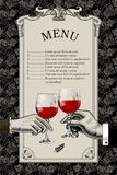 Menu template with retro drawing of man`s and woman`s hands hold. Restaurant menu template with retro drawing of man`s and woman`s hands holding wine glasses on Stock Photos