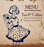 Menu template with retro waitresses and coffee or tea. Pot Royalty Free Stock Images