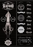 Menu template with squid Stock Photos
