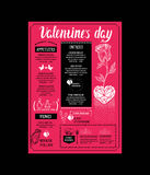 Menu template for Valentine Day dinner. Royalty Free Stock Photo