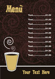 Menu template - vector. A menu template with a cup of coffee,useful for restaurant,bar,cafe',coffee-bar.EPS file available royalty free illustration