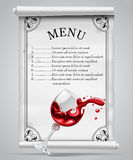 Menu template on white parchment sheet with decorative frame and Stock Image