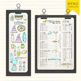 Menu template on wooden board with clips. Hand Drawn elements. Template for your design. Hipster style Stock Photos