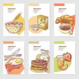 Menu tiré par la main de brochure de cartes de petit déjeuner sain avec les crêpes, le café et les cornflakes Nourriture d'Eco Images stock