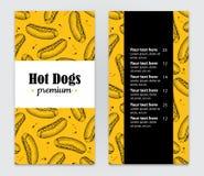 Menu tirado mão do cachorro quente do vetor Ilustração tirada mão do vintage Imagens de Stock