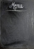 Menu title written with chalk on blackboard Royalty Free Stock Photo