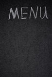 Menu title is written white chalk on a blackboard Royalty Free Stock Photos