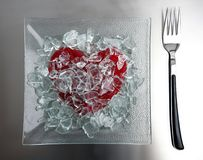 Menu for today: broken heart. Menu for today: broken glass sweet candy heart stock images