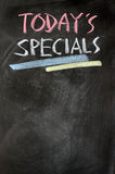 Menu of today's specials. Written with chalk on a blackboard Stock Photo