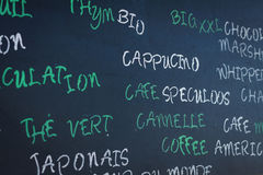 Menu in traditional french café Royalty Free Stock Photos