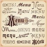 Menu Uitstekende Kalligrafische Doopvonten het Van letters voorzien Teksten Royalty-vrije Stock Afbeelding