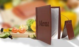 Menu végétarien en cuir dans un restaurant Photos libres de droits