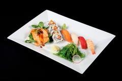 Menu van sushi en geroosterde vissen Stock Afbeelding