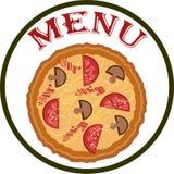 Menu vazio com pizza Fotografia de Stock