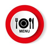 Round vector food icon on white background. Royalty Free Stock Photos