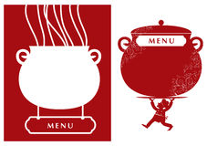 Menu. Vector illustration of menu or signboard  with cook holding bowl Stock Images
