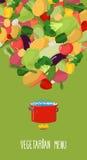 Menu of vegetables. Vegetarian food  illustration. Concept Royalty Free Stock Image
