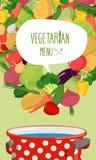 Menu of vegetables. Vegetarian food  illustration. Concept Stock Images