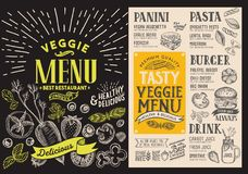 Menu for vegetarian restaurant. Vector food flyer for bar and ca. Fe. Design template with food hand-drawn graphic illustrations stock illustration