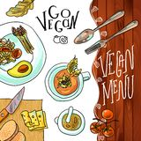 Menu vegetarische koffie vector illustratie