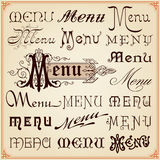 Menu Vintage Calligraphic Fonts Letterings Texts. Menu Vintage Retro Style Decorative Calligraphic Letterings Fonts Texts Set Vector Royalty Free Stock Image