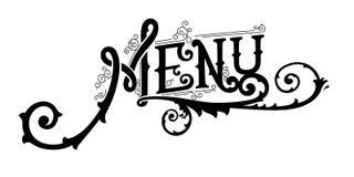 Menu, vintage lettering logo victorian style vector illustration