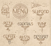 Menu in vintage modern style lines drawn craft. Menu in vintage modern style lines drawn with symbols pizza, pasta, seafood, wine, cocktails, coffee, chef dish Royalty Free Stock Photo