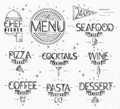 Menu in vintage modern style lines drawn. With symbols pizza, pasta, seafood, wine, cocktails, coffee, chef dish, 24 open on paper background Stock Photography