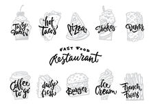Menu Vintage Retro Style Decorative Calligraphic Lettering Fonts Texts Set Vector stock illustration