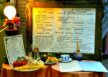 menu włoska restauracja Zdjęcie Stock