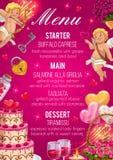 Menu on wedding day. Starter, main and desserts. Wedding day menu template, starter, main course and desserts. Vector salmone alla griglia, tagliata, buffalo stock illustration