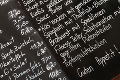 Menu in Wenen Stock Fotografie