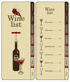 Menu for wine Royalty Free Stock Images