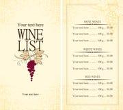 Menu wine. List with grape vine vector illustration