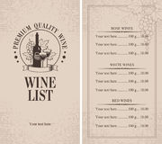 Menu of wine Royalty Free Stock Images