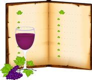 Menu and wine glass. Open menu book and glass of red wine Royalty Free Stock Photography