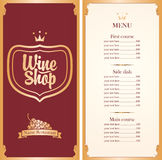 Menu for wine shop. With a price list and a bunch of grapes in red and gold color royalty free illustration