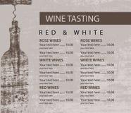 Menu for wine tasting patterned Bottle vector illustration
